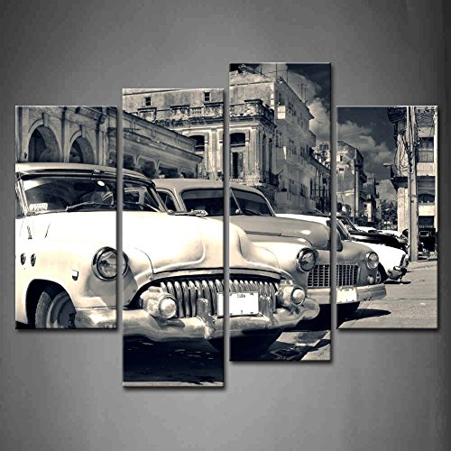 First Wall Art - 4 Panel Wall Art Black And White Panoramic View Of Shabby Old Havana Street With Vintage Classic American Cars Painting Pictures Print On Canvas Car The Picture For Home Modern Decoration piece (Stretched By Wooden Frame,Ready To Hang) (Canvas Wall Art Classic Cars compare prices)