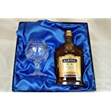 Engraved Crystal Brandy Glass & 35cl Martell in Silk Gift Box For Christmas/40th/50th/60th/65th/70th/80th Birthday