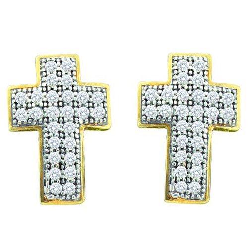 10K Yellow Gold 0.15 ct. Diamond Cross Earrings