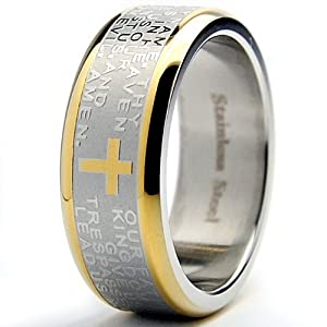 Amazon.com: 8MM Gold Plated Stainless Steel Lord's Prayer