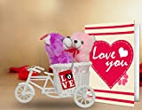 TiedRibbons® valentine gifts for Girlfriend Love you 2 Teddy with cycle,Keychain and Greeting Card