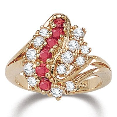 PalmBeach Jewelry Ruby & DiamonUltra™ Cubic Zirconia Cluster Ring: Jewelry