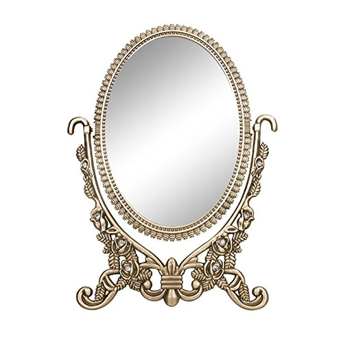 Antique two sided bronze plated zinc alloy framed oval for Oval swivel bathroom mirror