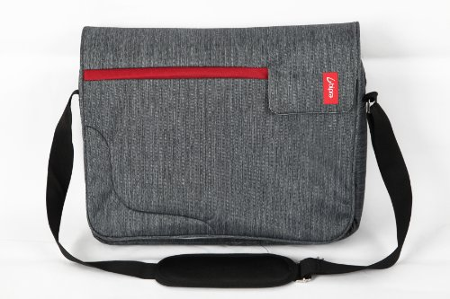 Bipra 15.6 Palce Laptop Messenger Bag šedá s červeným pruhem pro 15.6 Palec se hodí většina zařízení netbooky, Přenosné počítače, Tablety, IPAD