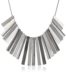 "Kenneth Cole New York ""Geometric Pave"" Silver Hematite Pave Stick Necklace, 20"""
