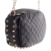 Oval Quilted Faux Leather Crossbody Chain Strap Purse Bag w/ Gold Studs (Black)
