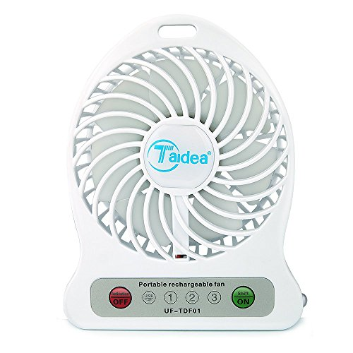 Taidea ホワイト小型扇風機 卓上USBファン 充電式電池付属 モバイルバッテリー機能付き 強力風量 3段階風力調節 デスク サーキュレーター 携行便利 省エネルギ