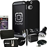 Incipio DualPro Black Cover for HTC One M8 with 5pc USB Power Kit: USB Car Charger, House Charger and 10 ft Long cable, 3ft car cable, 3.5mm AUX Cord, Stylus Pen and Radiation Shield.