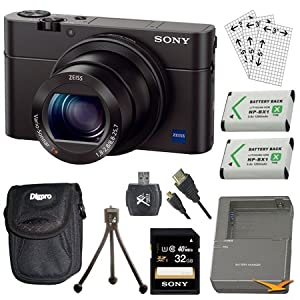 Sony DSC-RX100M III DSC-RX100M3 RX100M3 Cyber-shot Digital Still Camera Bundle with 32GB Card, 2 Spare Batteries, Rapid AC/DC Charger, SD Card Reader, Case, LCD Screen Protectors, and Table top Tripod