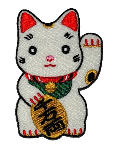 Best Price Cute Maneki-neko Japan Japanese Lucky Cat DIY Embroidered Sew Iron on Patch