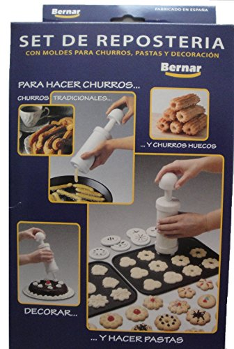 Bernar Churrera Churro Maker Hand Operated with 13 Nozzles Including Hollow Nozzle to Make Churros At Home