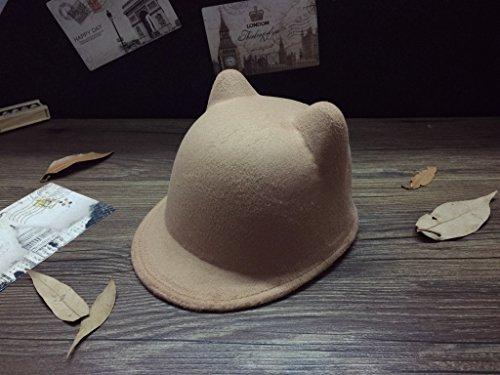 frixie (TM) lana ragazze cappello inverno corna da diavolo con orecchie di gatto animale Derby Bowler Cap per childrend regalo Khaki