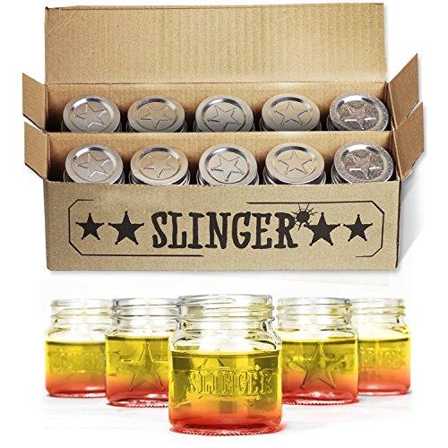 THE SLINGER Shot Glasses Set - Mini Mason Jars with Lids Featuring Unique Star Design (10 Pack) (Mason Jars Bulk compare prices)