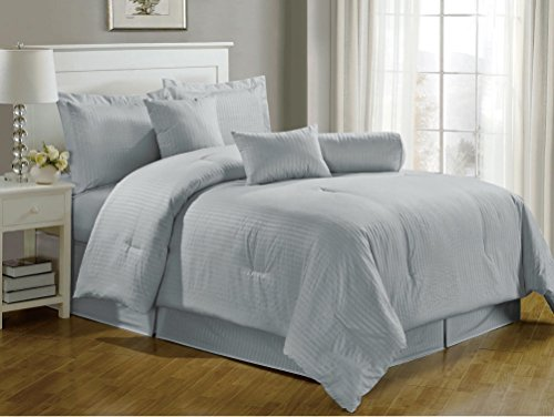 Chezmoi Collection 7-Pieces Hotel Dobby Stripe Duvet Cover Set, King, Light Bluish Gray