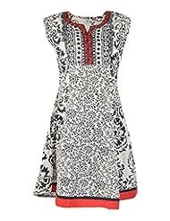 Diya's Women's Cotton Regular Fit Kurti (DY30_Medium, Off White & Black, Medium)