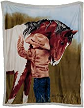 WesternWear Men39s Reversible Horse Crazy Sherpa Throw One Size Multi One Size