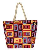 Neska Moda Swachh Bharat Women's Geometric Mobile Design Pink Jute Bag Shoulder Bag - Made In INDIA
