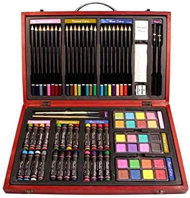 Nicole 79 Piece Studio Art & Craft Supplies Drawing and Painting Set in Wood Box Great Gift