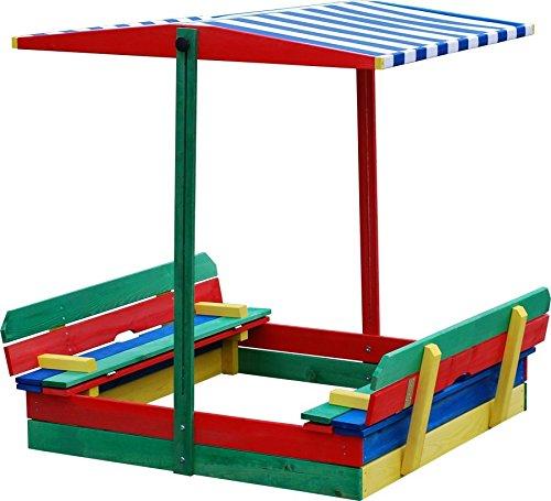 Sandkasten mit Sitzbank und Dach, bunt