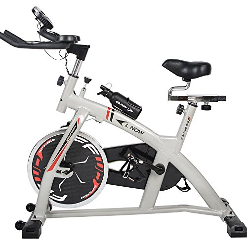 L NOW Indoor Exercise Bike with Pulse and LCD Monitor - 40lb Flywheel Training Cycling System