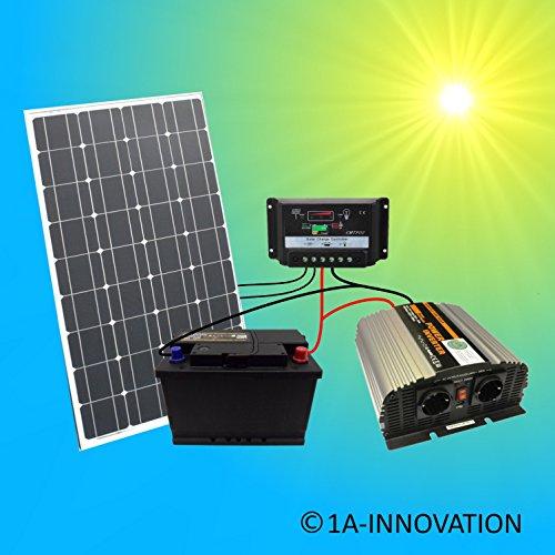 Komplette-220V-Solaranlage-TV-Akku-100W-Solarmodul-1000W-Spannungswandler-Gartenhaus-NEU-Solar-Garten-Set-Camping-Wohnmobil-Inselsystem-Solarzelle-Solarzelle-230V-Watt-Volt-100