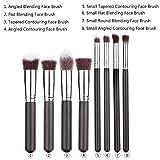 EmaxDesign® Premium Synthetic Kabuki Makeup Brushes Set Cosmetics Foundation Blending Blush Eyeliner Face Powder Brush Makeup Brushes Kit (8pcs, Silver Black)
