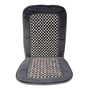 Carpoint 0323219 Car Seat Cover Pad with Wooden Beads Black and Grey 'Deluxe'