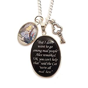 Alice in Wonderland charm necklace - We're all mad here Cheshire cat quote