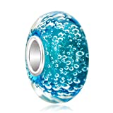 Third Time Charm 925 Sterling Silver Aquamarine Blue Bubbles Murano Glass Charm Beads For Bracelets