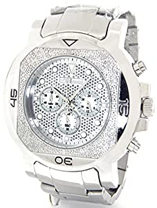 JOJINO Real Diamond Watch Mens Deluxe Silver Tone Case Metal Band MJ-1224