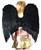 Extra Large Black Feather Angel Wings w/ FREE HALO for adults women men