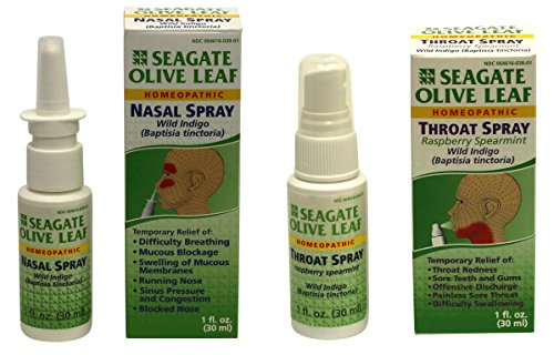 Seagate Products Homeopathic Olive Leaf Nasal and Raspberry-Spearmint Throat Spray Bundle (pack of 2) (Olive Leaf Extract Throat Spray compare prices)