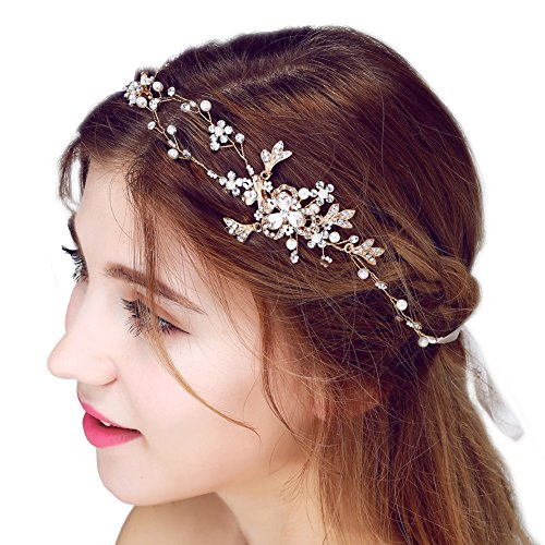 FAYBOX Rhinestone Beaded Bridal Head Band Wedding Jewelry Accessories