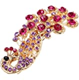 Leegoal Fashion Women Lady Peacock Full Crystal Rhinestones Hairpin Hair Clip (purple)