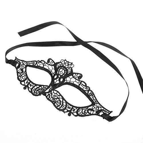 [Fashion Elegant Hollow Out Lace Design Halloween Masquerades Party Cat Eye Mask - Black] (Cat Masks For Kids)