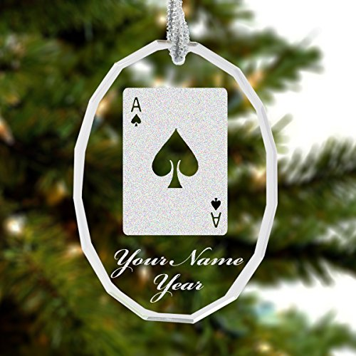 Ace of Spades Personalized Glass Ornament