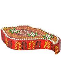 THE ART OF INDIA Wooden Tilak Box (12.7 Cm X 6.35 Cm X 2.54 Cm, Red)