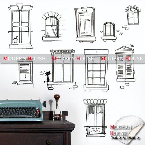 Modern House Assorted Window Frames removable Vinyl Mural Art Wall Sticker Decal
