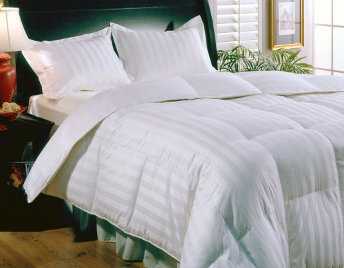 Damask Stripe Siberian White Down Comforter,