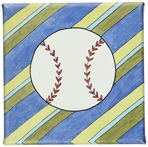 "Green Frog Art 6""X6"" Canvas Gallery Wrapped Art, Hangin' Out Baseball"