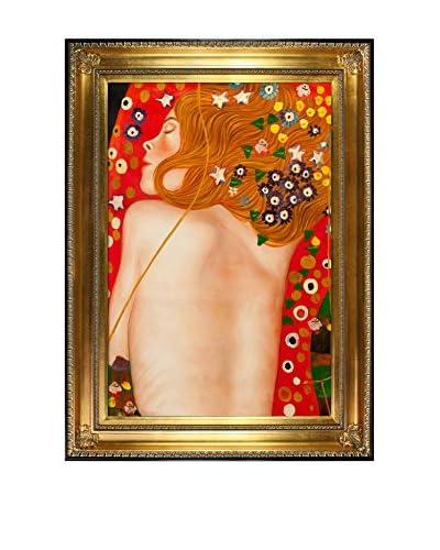 Gustav Klimt's Sea Serpents Iv Framed Hand Painted Oil On Canvas, Multi