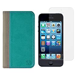 VanGoddy Mary Portfolio Self Stand Case Cover For Apple iPhone 5S / 5G (Blue) + Tempered Glass Screen
