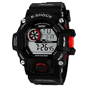 Water-resistance and Shockproof Watches Casual Men's Watches Students Boys Girls Sports Watch - Red