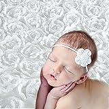 Yarra Modes Newborn Baby Photography Photo Props 3D Rose Flower Backdrop Beanbag Blanket Rug (White)