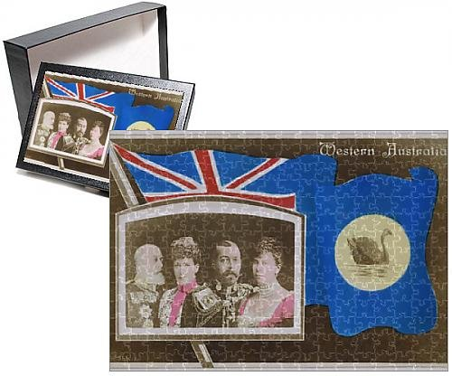 Photo Jigsaw Puzzle of Flag of Western Australia with portraits of British Royalty (British Flag Puzzle compare prices)
