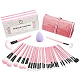 Make Up pennelli - Start Makers 32 pezzi Professionale Rosa Trucco Cosmetica spazzole di trucco set / Pennelli trucco Tools con caso di cuoio & Porpora Blender spugna