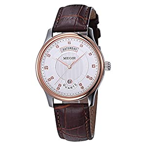 Baogela Men White and Rose Gold Face Brown Leather Diamond Accented Business Casual Quartz Watch