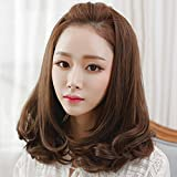 Spritech(TM) New Stylish Natural Black Fluffy Realistic Half Head Wig Short Wavy Curly Hair Wig Fiber Synthetic Women Wig With Fine Hair Net