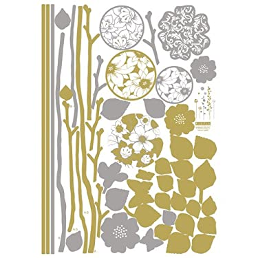 Easy Instant Decoration Wall Sticker Decal - Champagne Floral Eclipse