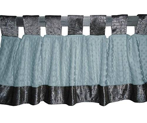 Baby Doll Croco Minky Window Valance, Grey/Blue